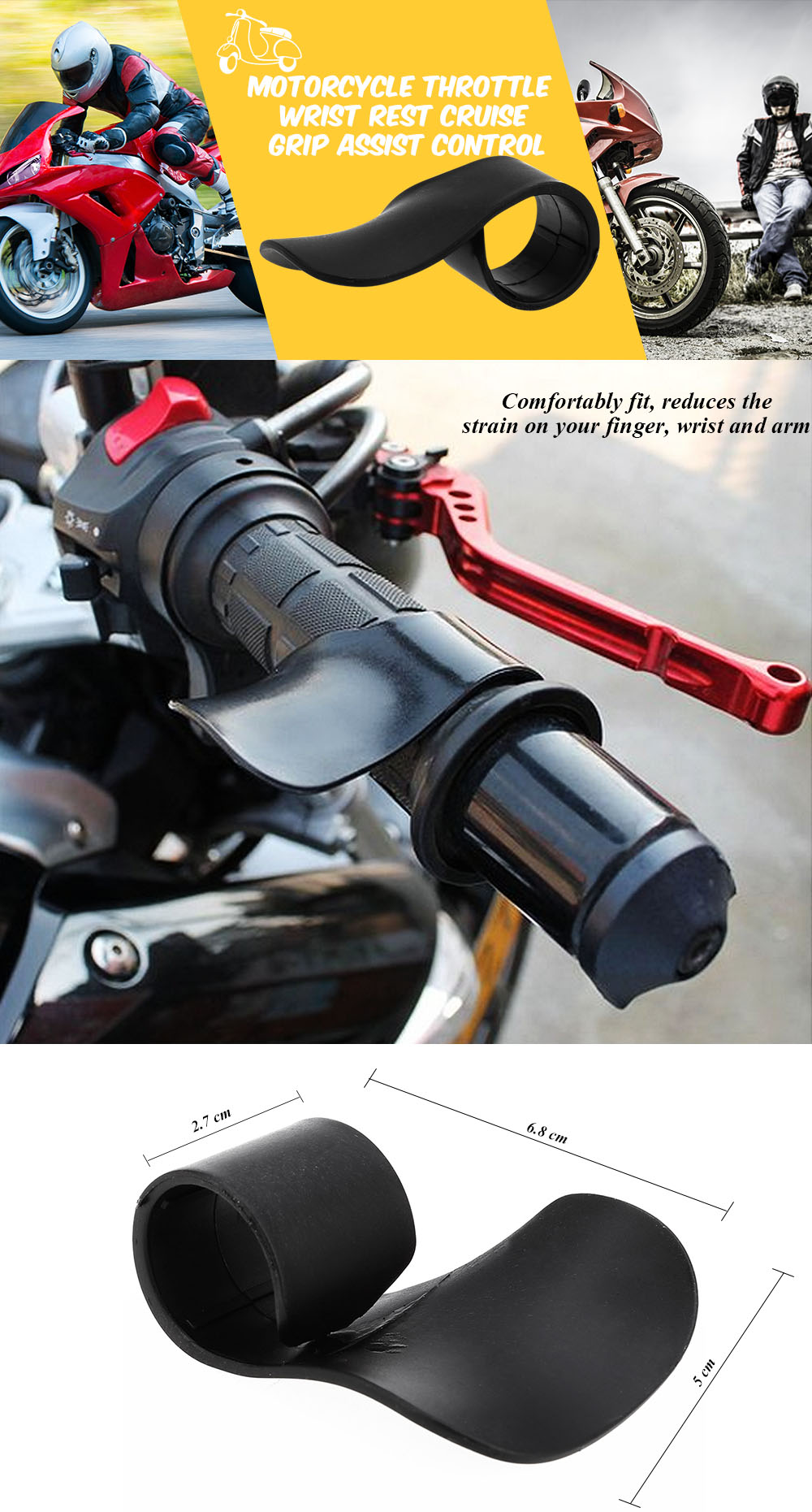 Motorcycle Cruise Control Throttle Assist Hand Wrist Rest Grip Handle Clamp LI3