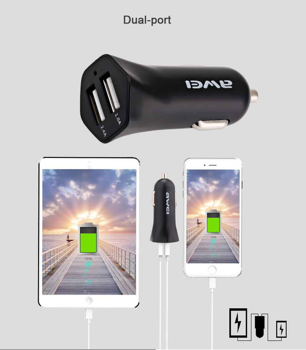 Awei C - 300 2.4A Dual-port USB Smart Car Charger- White