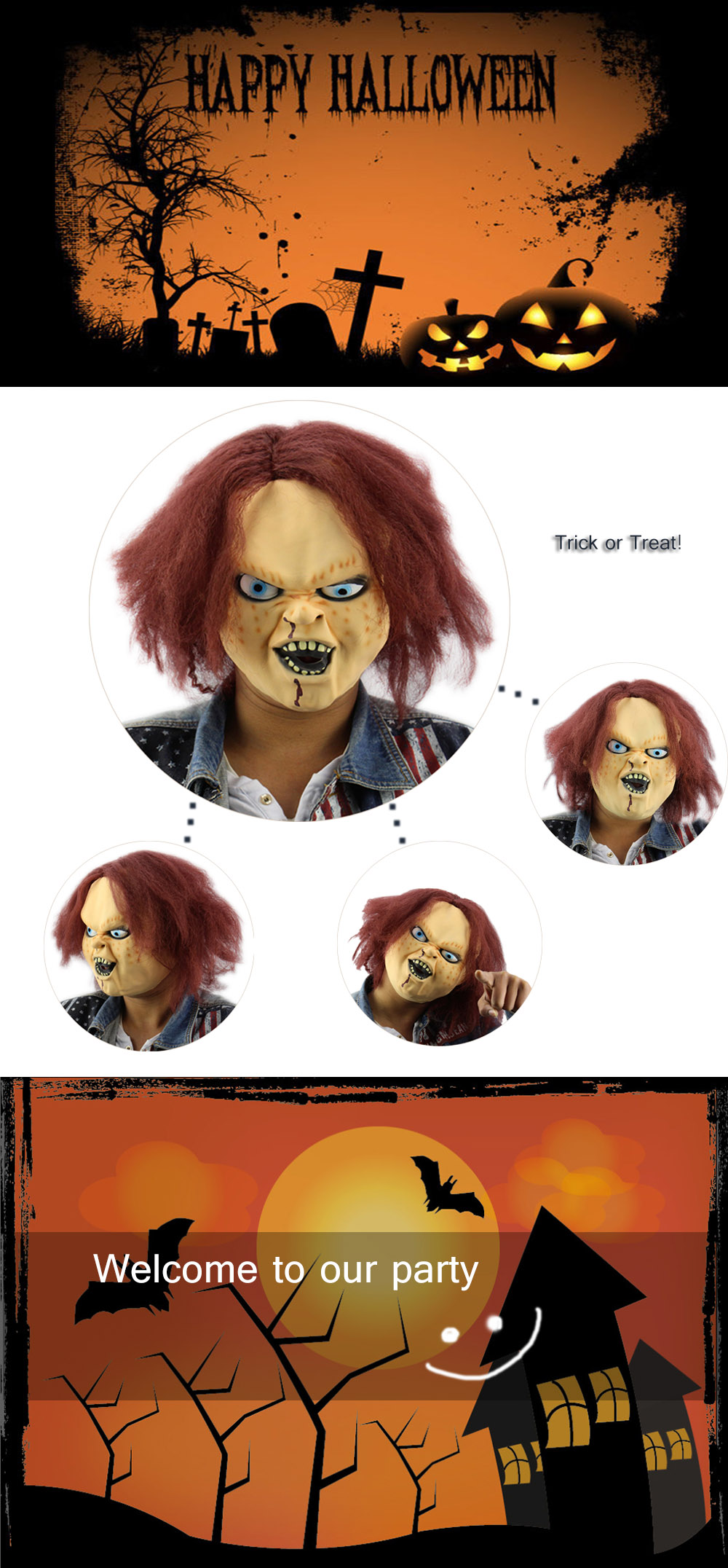 Horror Latex Mask for Child Play Chucky Action Figures Masquerade Halloween Party Bar- Red Brown