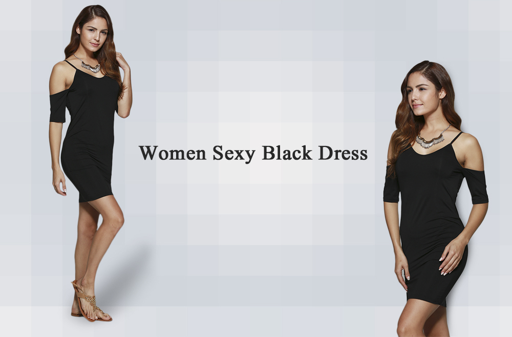 Sexy Spaghetti Strap Cut Out Sheath Women Black Dress