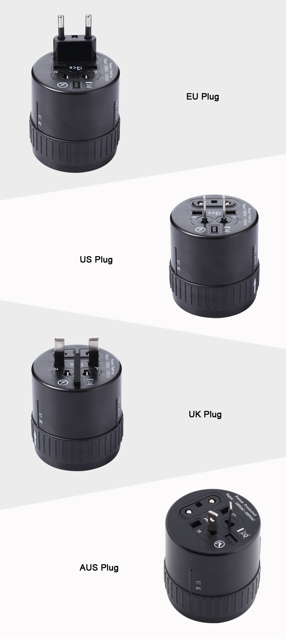 HHT179 Rotary International Travel Plug Dual USB Port Charging Adapter(1000mA)