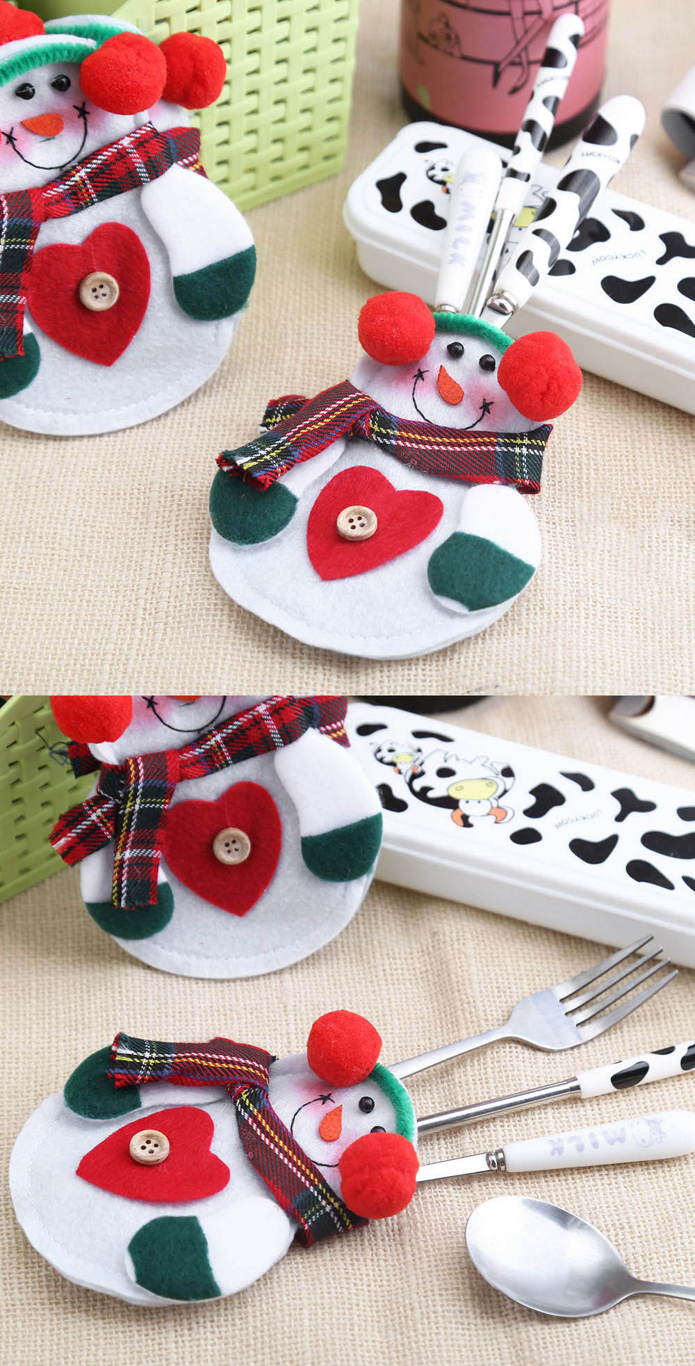 12pcs Snowman Silverware Holder Dinner Table Decoration- Colormix TREE