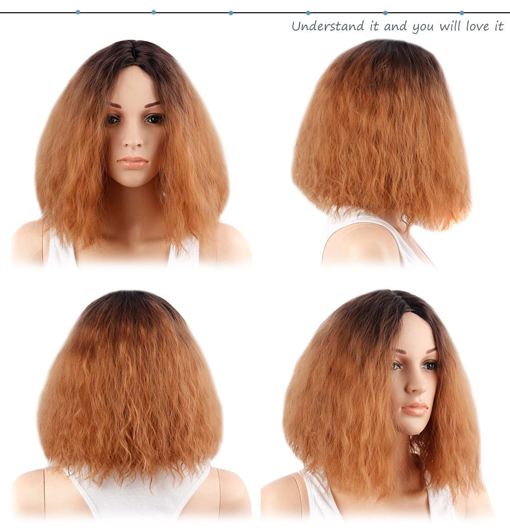 Women Ombre Medium Central Parting Loose Fluffy Curly Wigs Synthetic Hair Street Shooting Daily Party