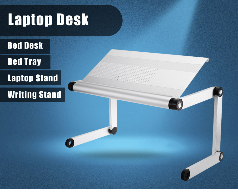 OMAX A6L Folding Computer Table Bed Tray Desk Adjustable Height For Laptop  With Cooling Holes