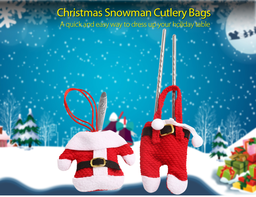 6 Pairs Christmas Santa Decoration Suit Pants Cutlery Fork Spoon Holder Pockets- Red Yellow Button Pattern