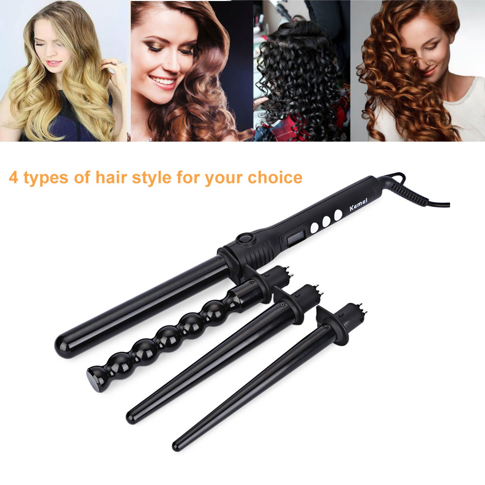 Kemei Km 4083 4 In 1 Hair Curler Roller Curling Wand Set 3794 Travel Package Content X Bilingual User Manual English And Chinese