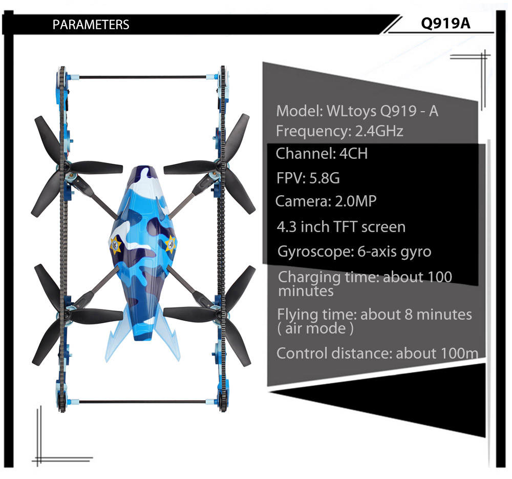 WLtoys Q919 - A 4 Channel 2.4G 5.8G FPV with 2.0MP HD CAM 6 Axis Gyro Quadcopter 2 in 1 Tank Drone RTF
