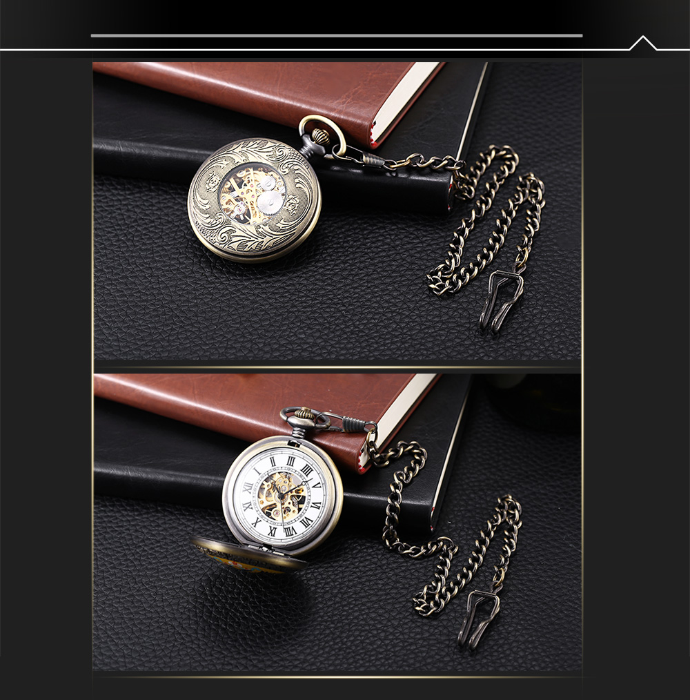 PC23 Vintage Mechanical Hand Wind Pocket Watch Transparent Back Cover Necklace Wristwatch