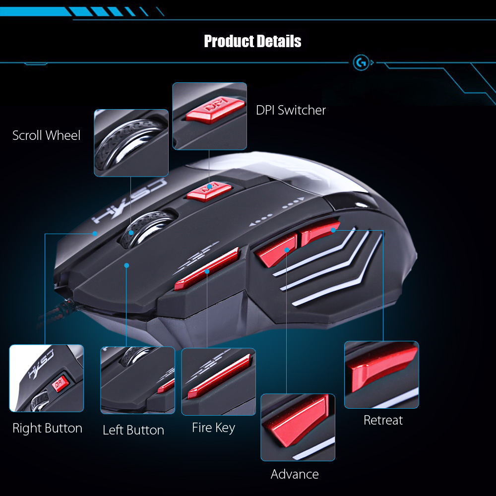 HXSJ H100 3200DPI Wired Optical Game Mouse with LED Light- Black