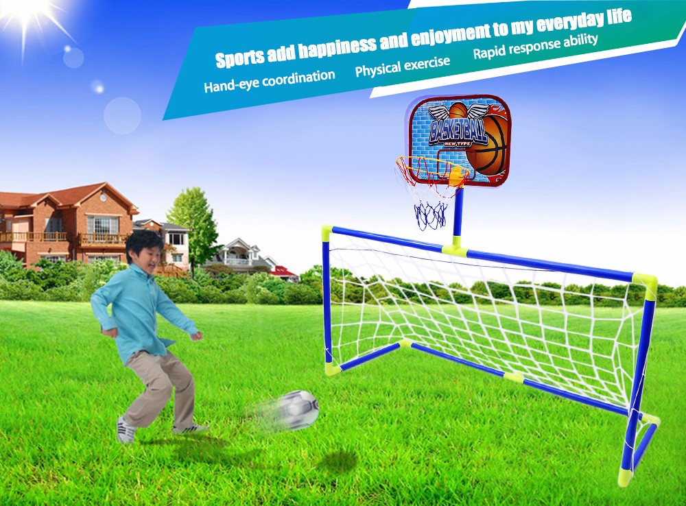 c878bd29b8ffed Anjanle Children Portable 2-in-1 Football Basketball Set Indoor Outdoor Sport  Toy-