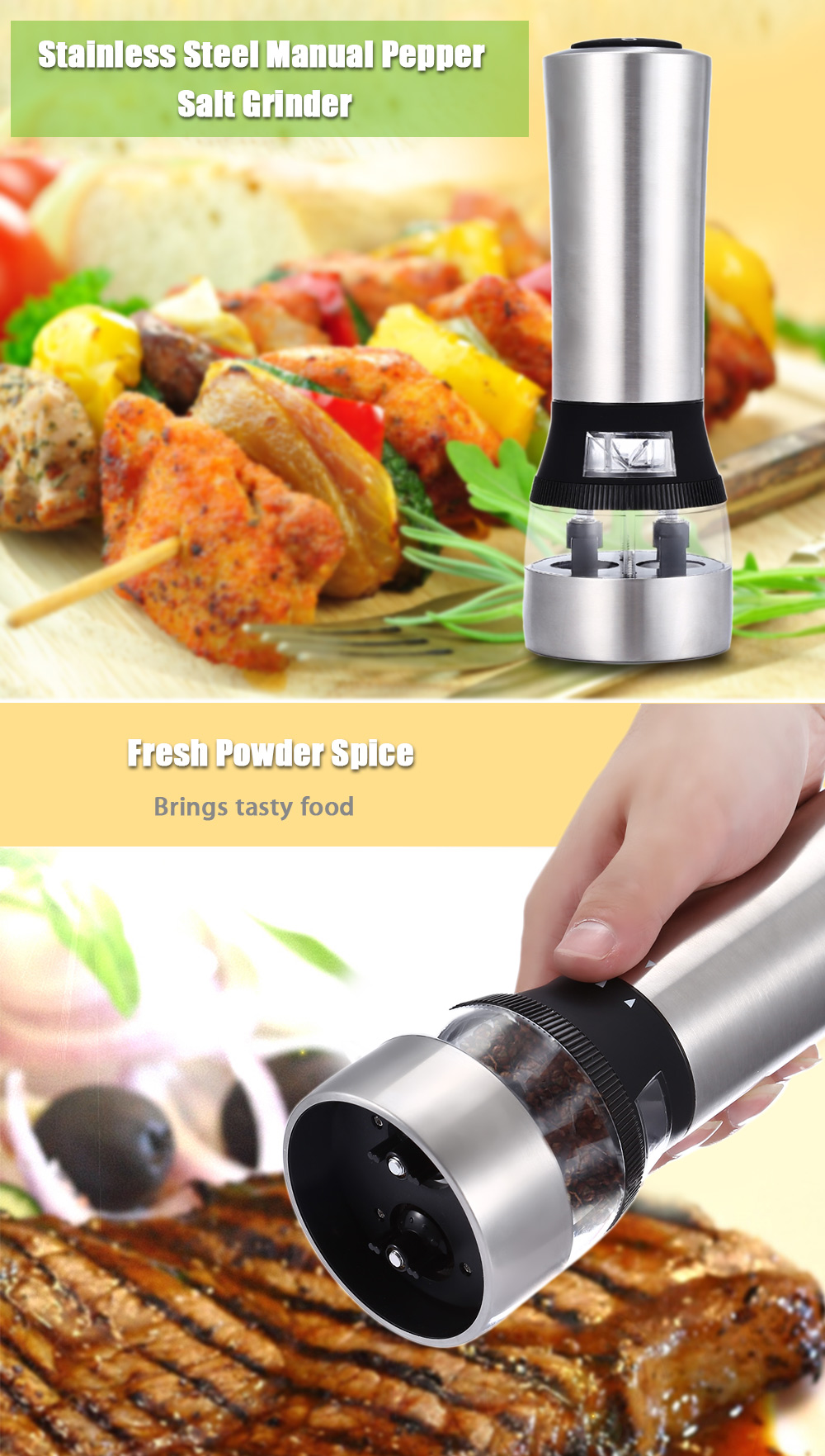 2 in 1 Electric Stainless Steel Pepper Salt Mill Grinder- Silver
