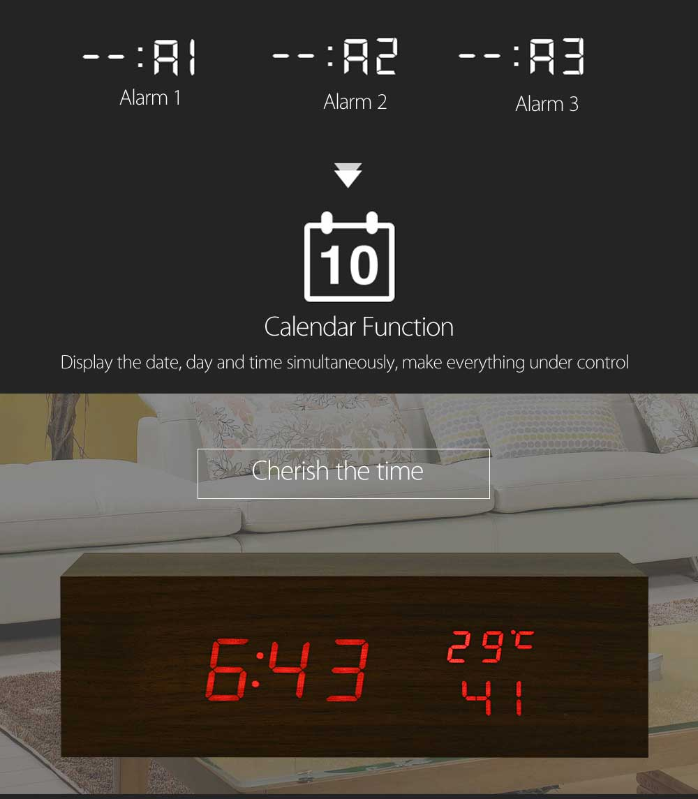 Creative Wooden LED Clock Temperature Display Perpetual Calendar Alarm