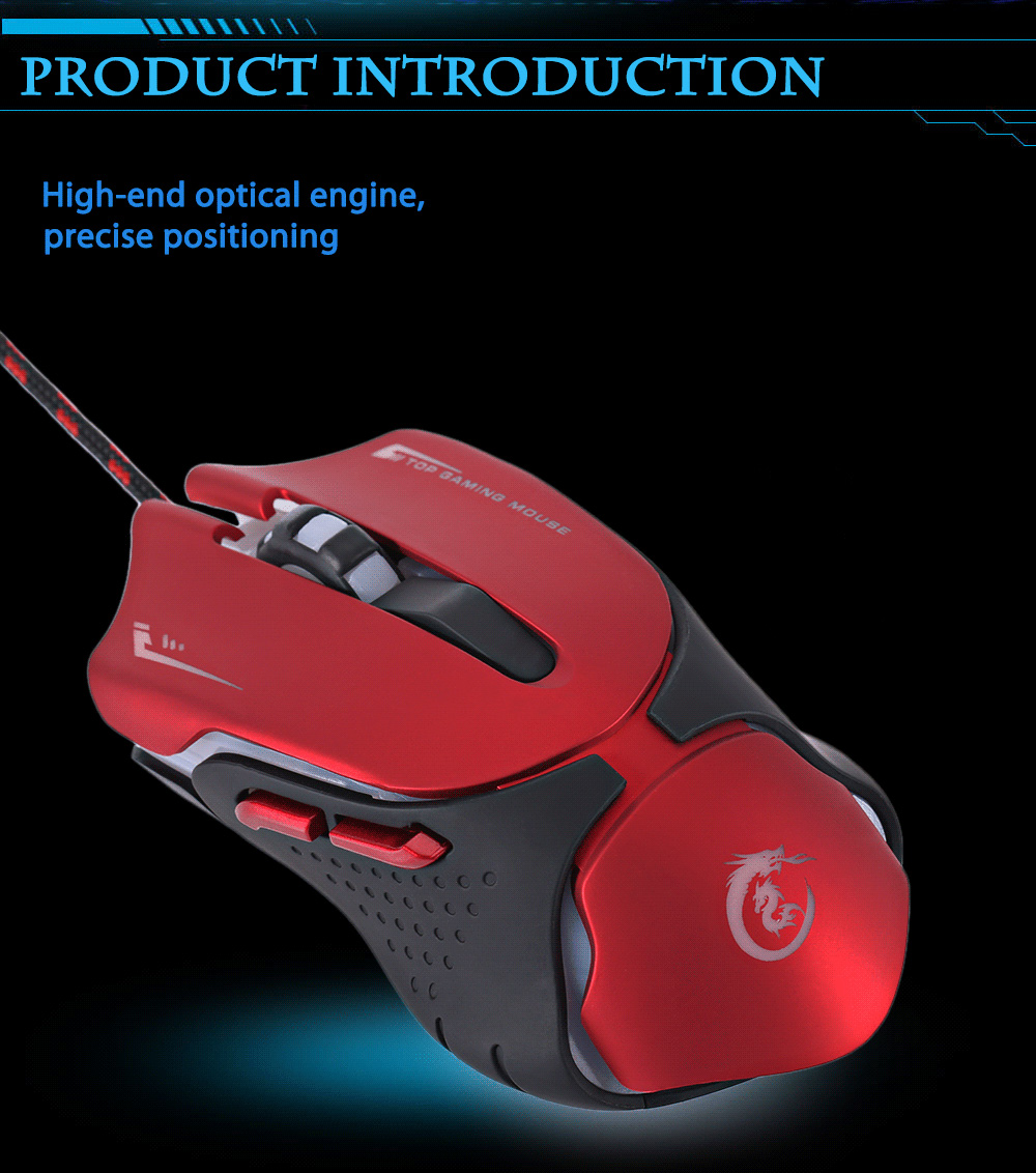 HXSJ A903R 3200DPI Wired Optical Backlit Gaming Mouse