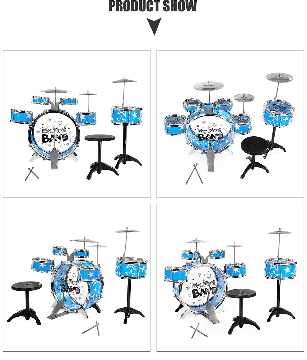 Children Drums Kit Musical Instrument Toy with Cymbals Stool Christmas Birthday Gift- Blue