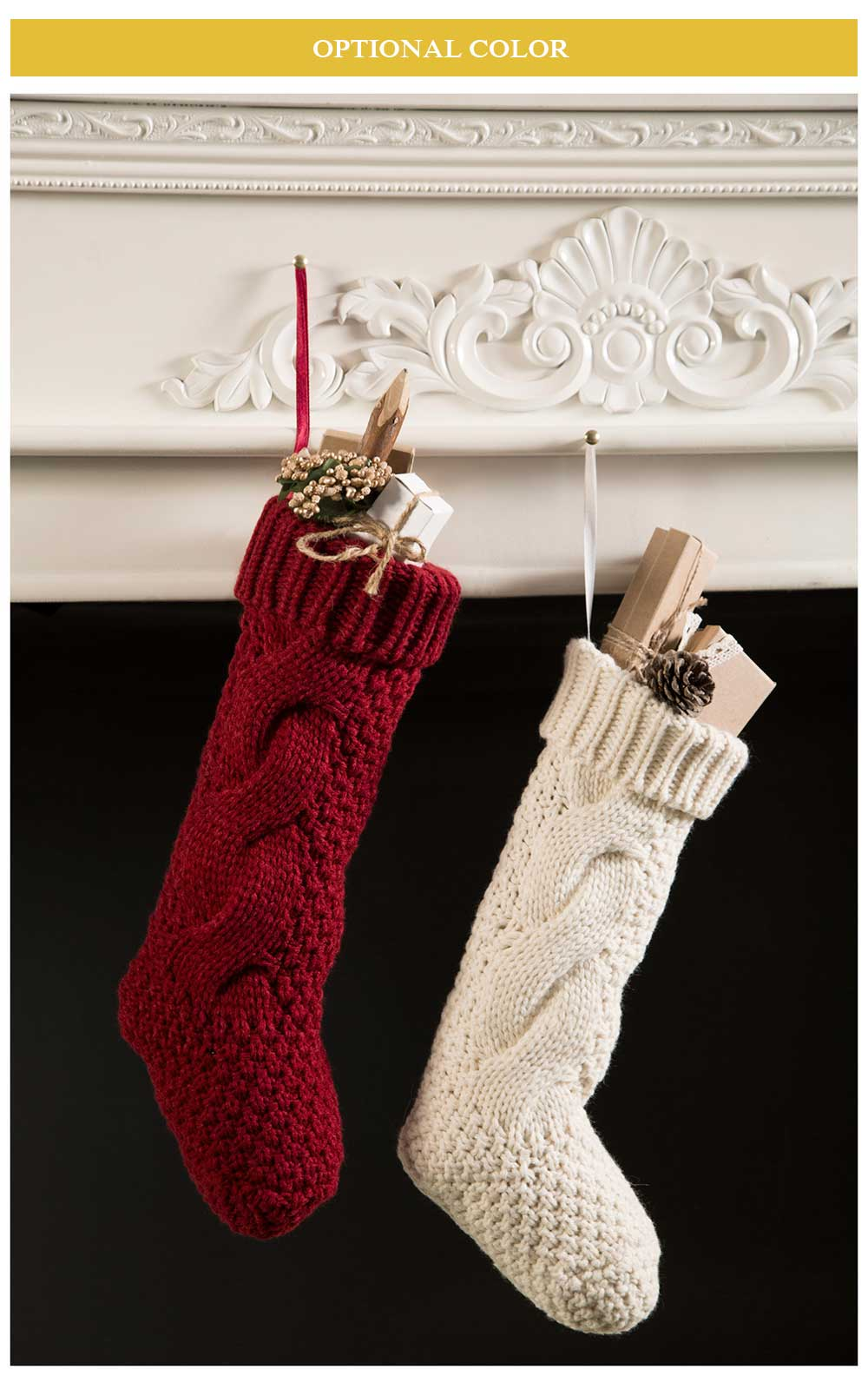 Sweet Solid Color Knitted Christmas Knee Socks for Women