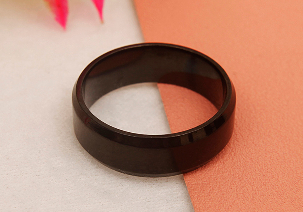 Fashionable Double Bevel Dumb Face Pure Color Stainless Steel Ring