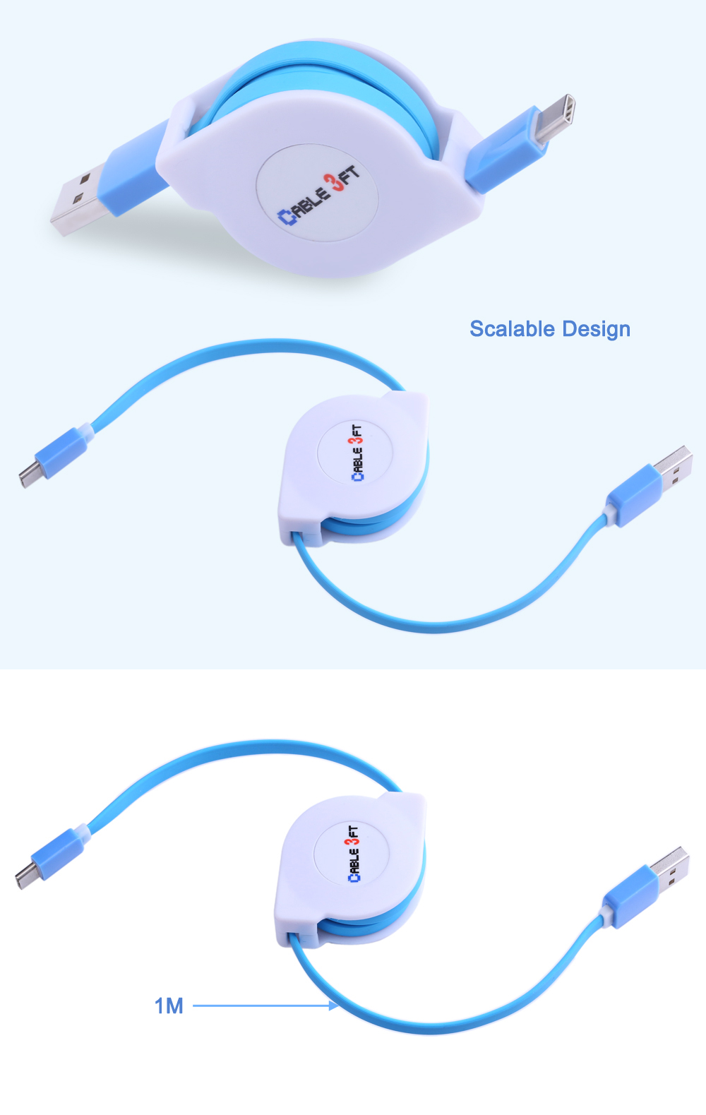 Circular Cover Stretchable Type-C Data Charging Cable 1M