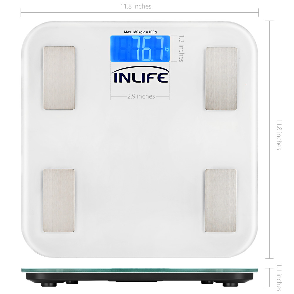 1f464a8d9455 INLIFE Bluetooth Electronic Weight Fat Scale LCD Display