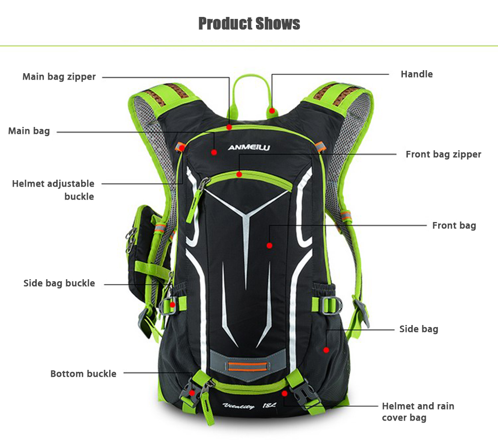 d672106ab0c6 ANMEILU Unisex Ultralight Hydration Bag Pack Water Resistant Backpack for  Cycling Hiking Climbing with Helmet Pouch