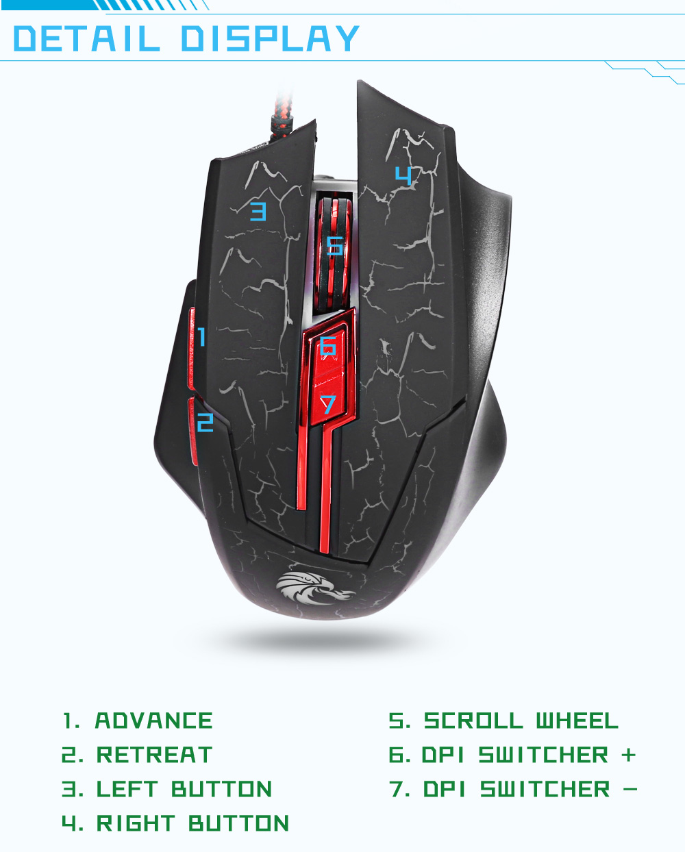 Hxsj H800 Wired Optical Backlit Gaming Mouse 601 Free Shipping Wiring Diagram 5500dpi 7d Usb With Led Backlight Black