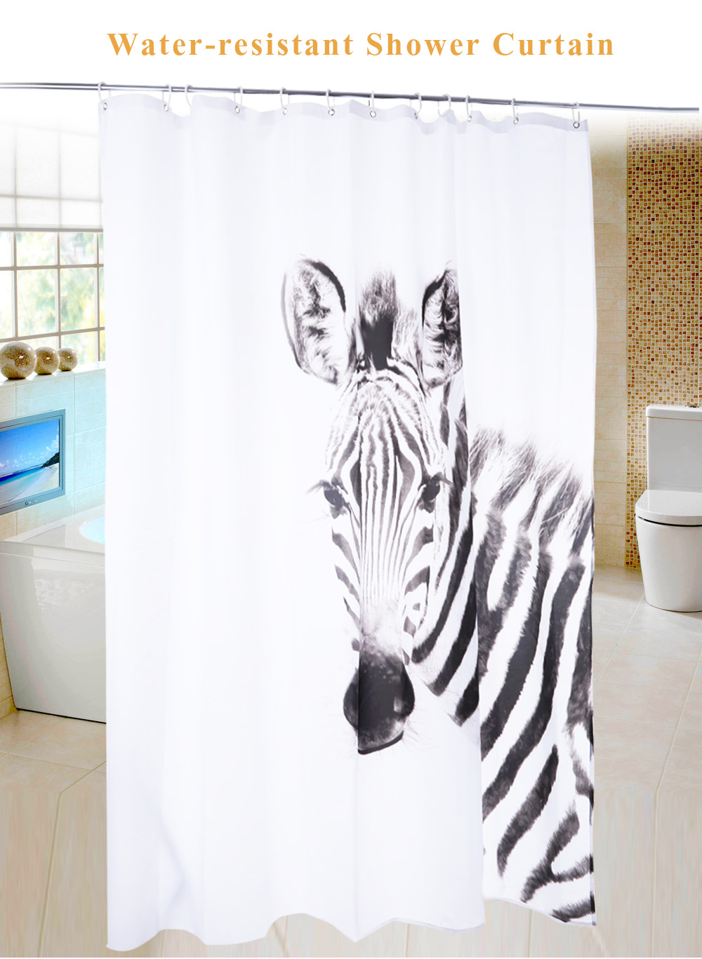 3D Zebra Pattern Water Resistant Bathing Shower Curtain Bathroom Decor White And Black 180