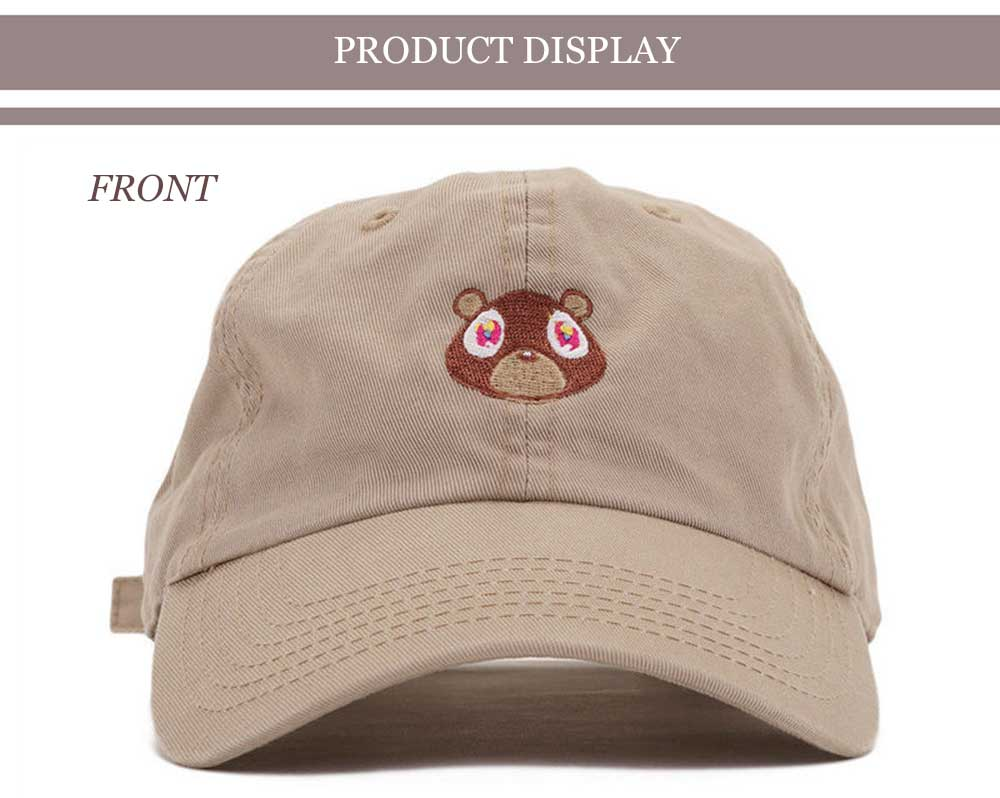 Sweet Bear Decoration Pure Color Baseball Hat for Unisex