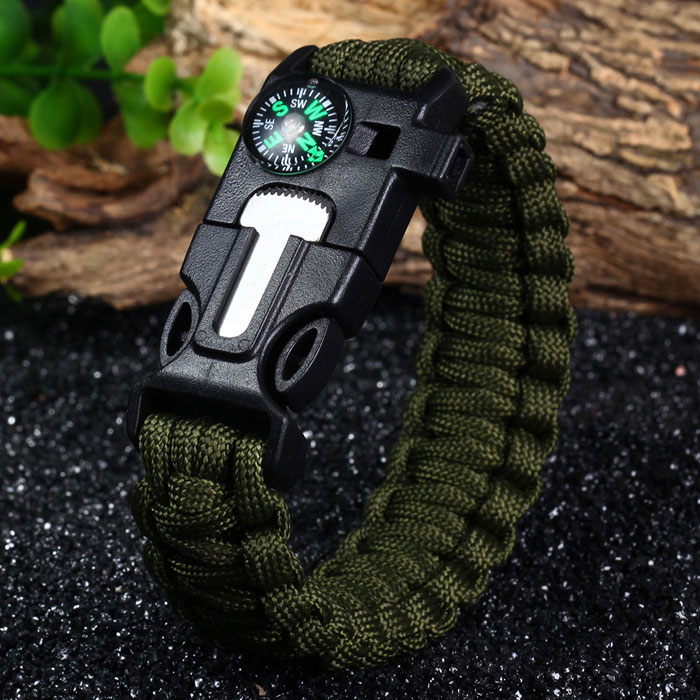 5 In 1 Outdoor Survival Gear Escape Paracord Bracelet Flint Whistle Comp Ser