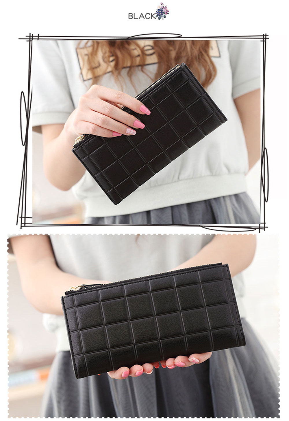 Simple Solid Three-dimensional Embossed Fringed Zipper Long Paragraph Women Purse
