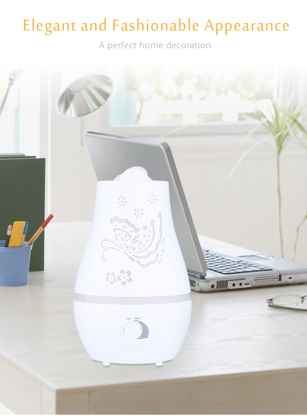 2.4L Ultrasonic Essential Oil Diffuser LED Light Air Humidifier Purifier- White Big Butterfly Pattern