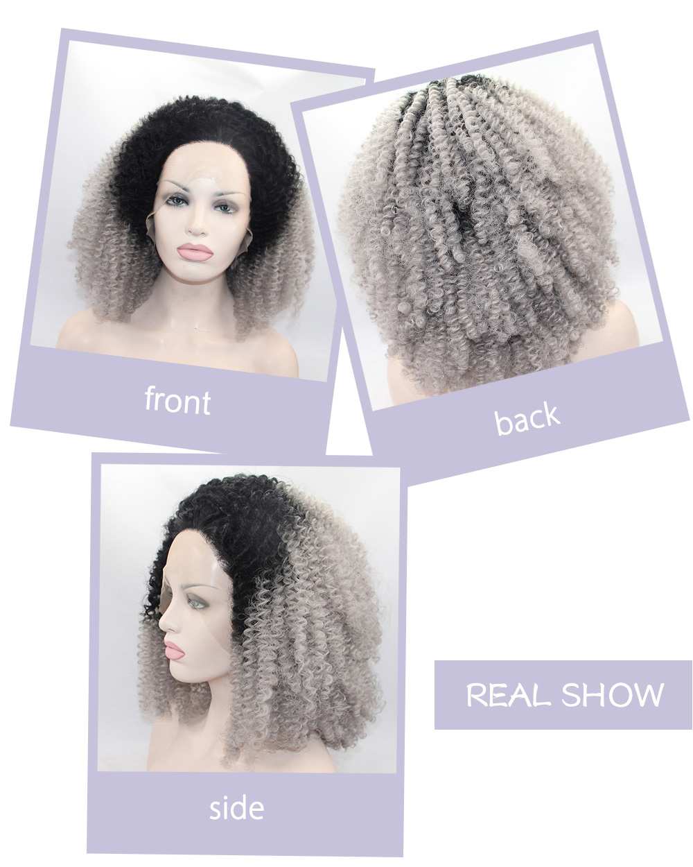 Ombre Gradient 2 Tone Dark Root 1B / Grey Kinky Curly Synthetic Lace Front Wig Soft Spiral Perms Hair