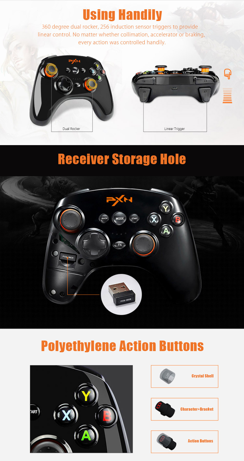 PXN 9608 2.4GHz Wireless Bluetooth V4.0 Joystick for Android Phone