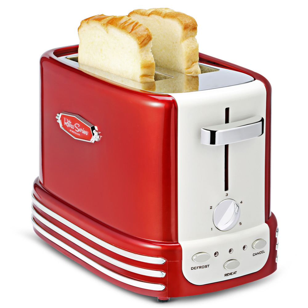 NOSTALGIA ELECTRICS Two Piece Removable Pop Up Hot Dog Toaster Bread Maker