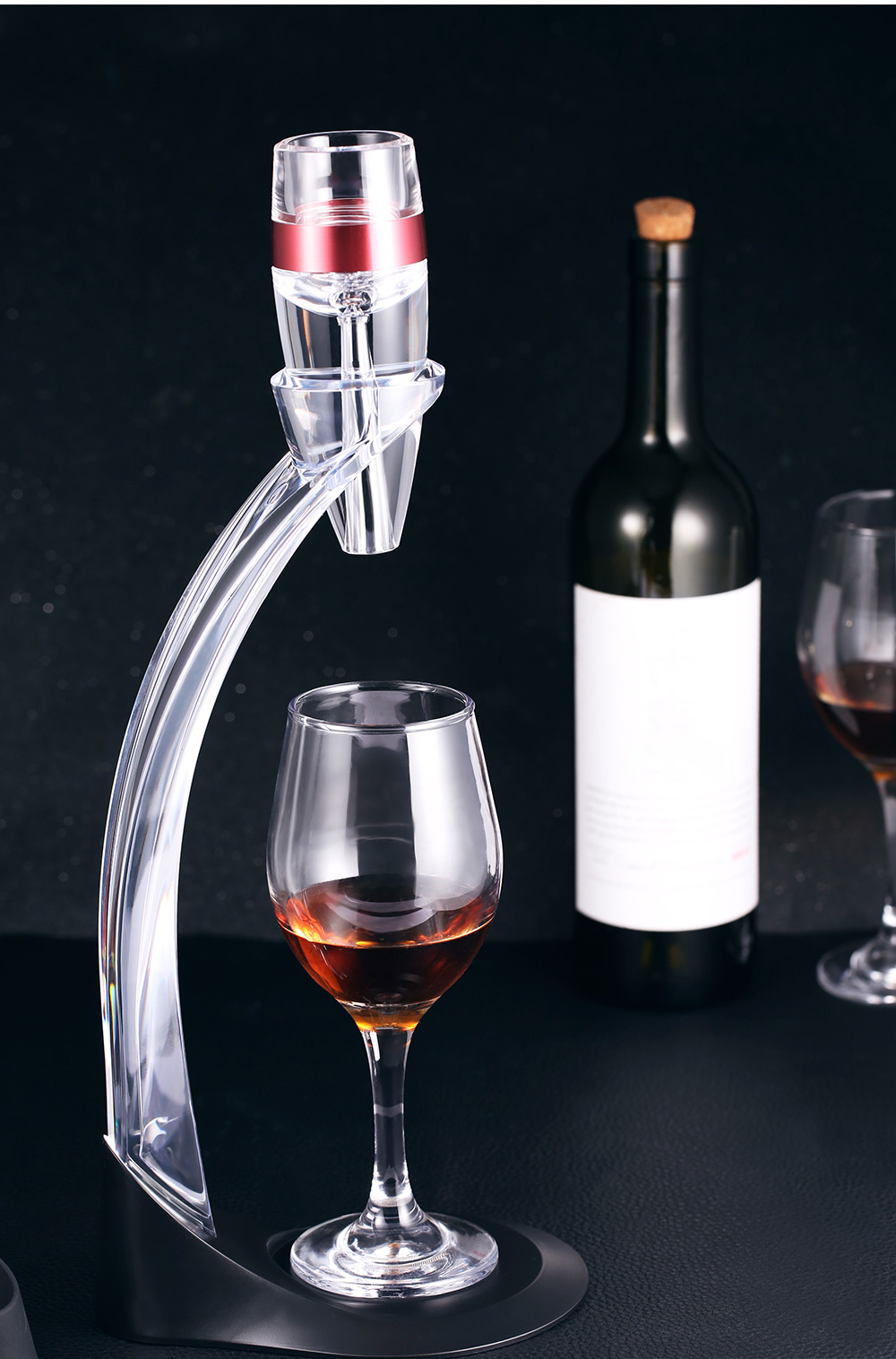 Red Wine Decanter Detachable Acrylic Aerator Set with Stand- Transparent