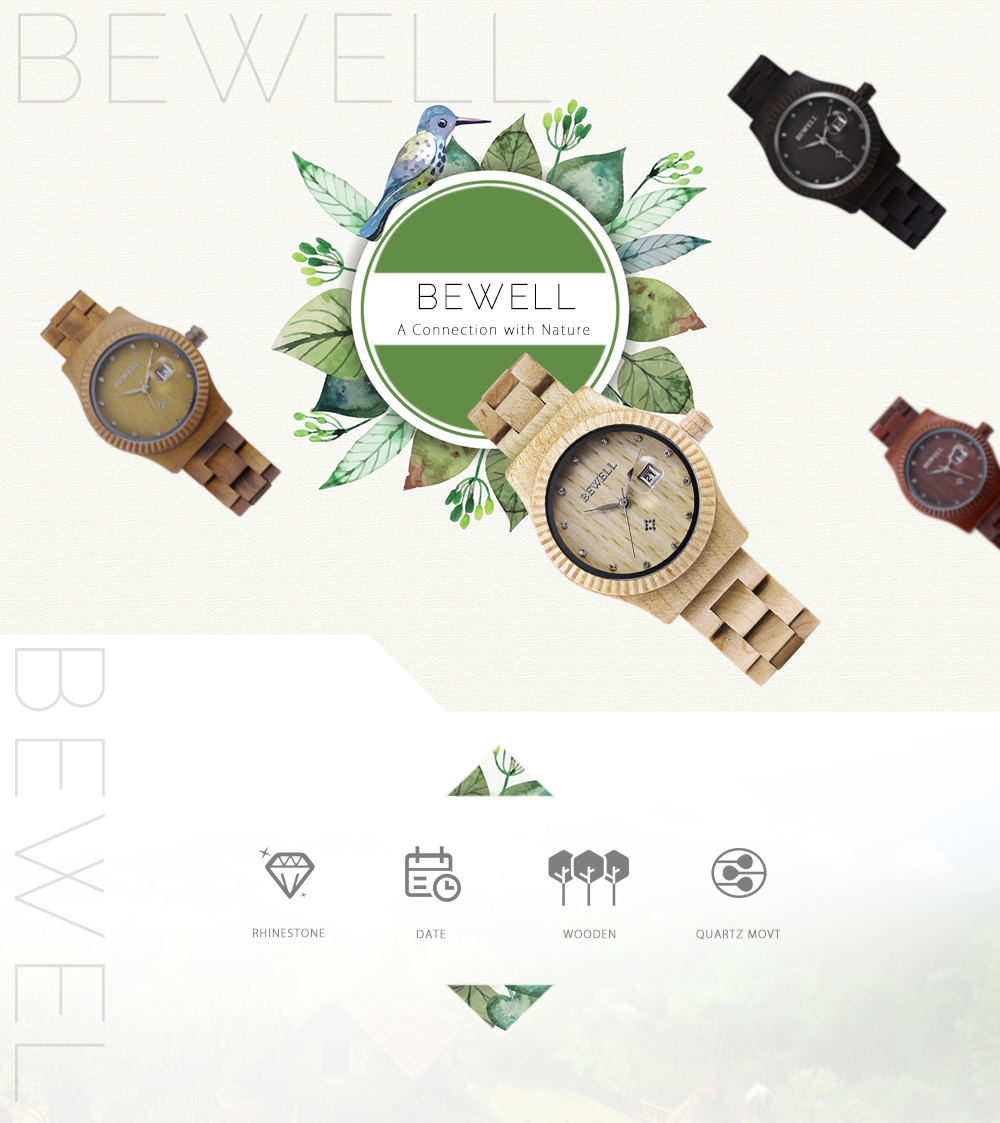 Bewell ZS - W064A Women Quartz Watch Wooden Case Rhinestone Date Display Japan Movt Wristwatch