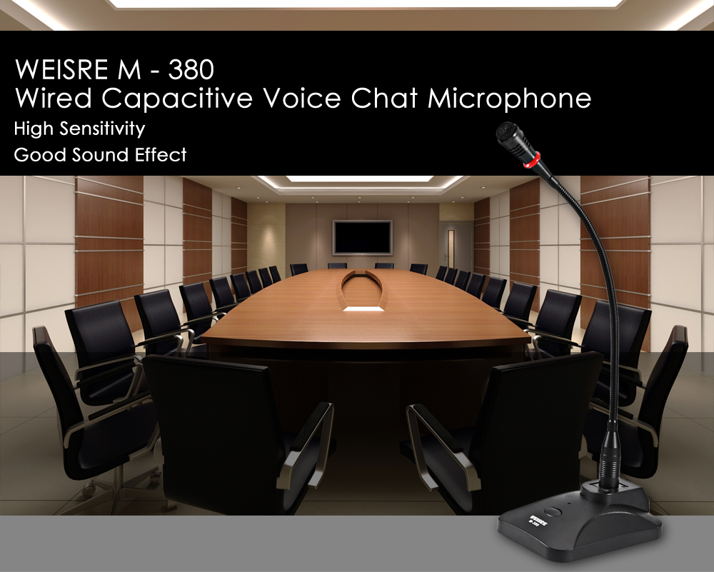 WEISRE M - 380 Wired Capacitance Microphone Noise Canceling Mic- Black