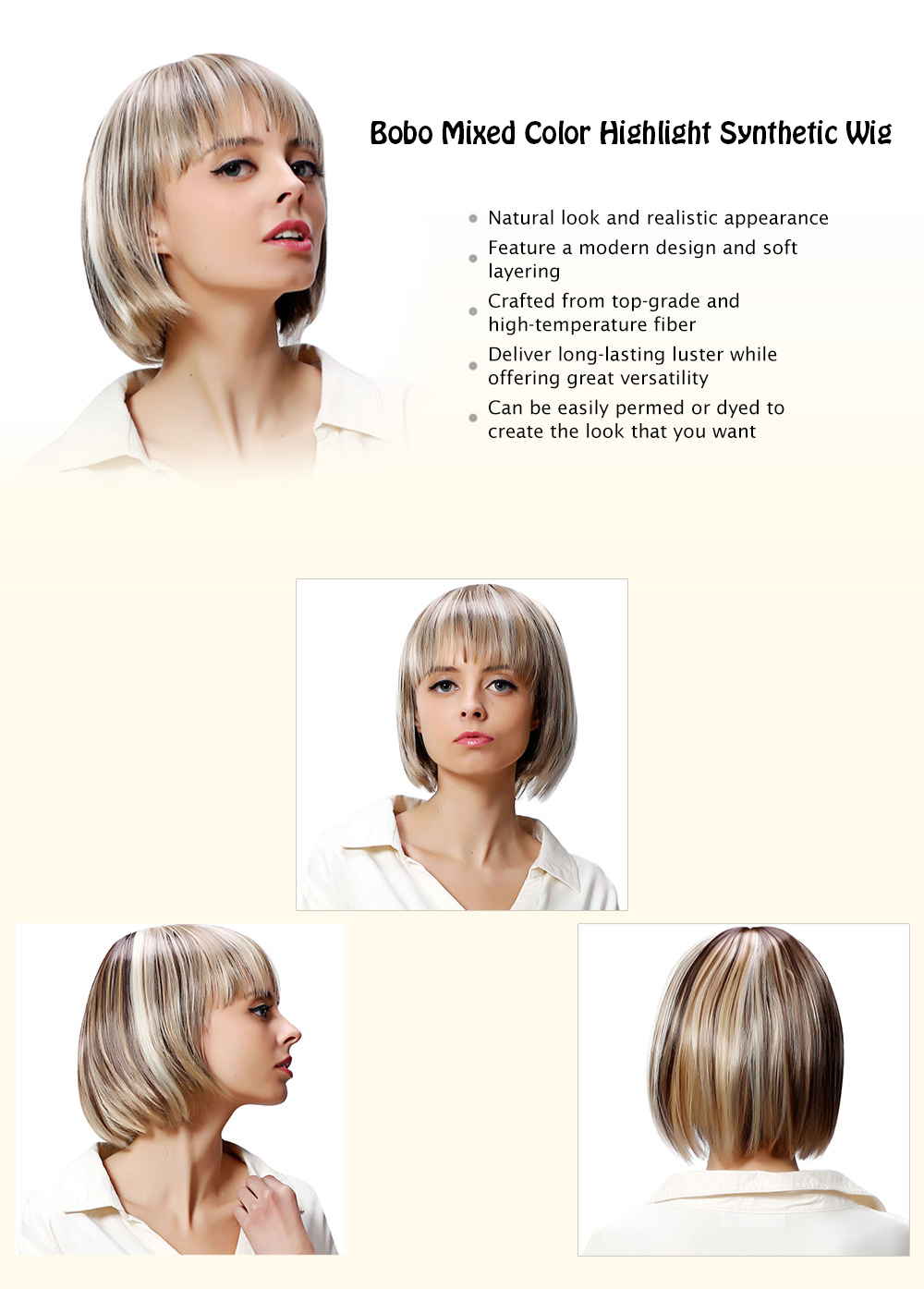 AISIHAIR Full Bangs Bobo Mixed Color Highlight Synthetic Wigs for Women