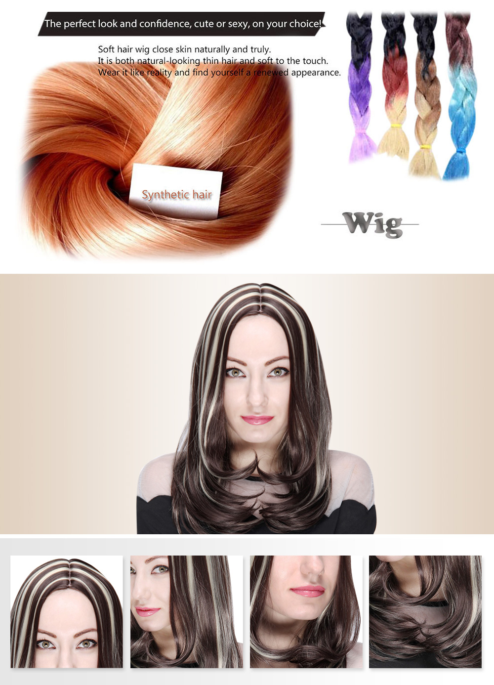 AISIHAIR Women Medium Loose Wavy Centre Parting Highlight Mixed Colors Synthetic Wigs