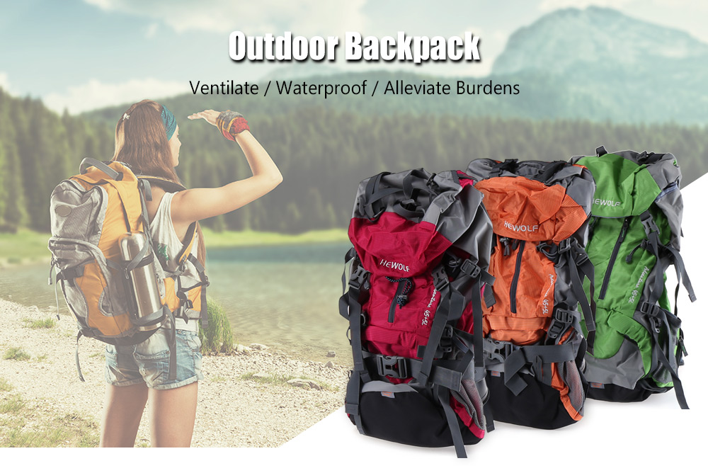 a211f28d89ae Hewolf 50L Outdoor Waterproof Unisex Hiking Backpack