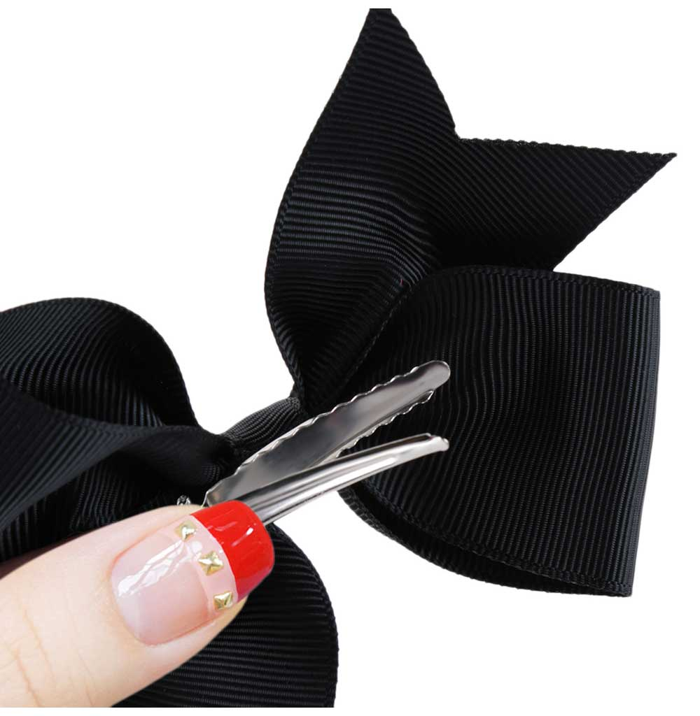 Sweet Pure Color Bowknot Design Ribbon Hair Pin for Women