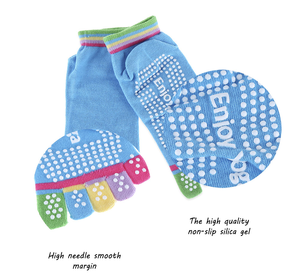 Yoga Socks Non-slip Skid with Full Toe Grips- Gray