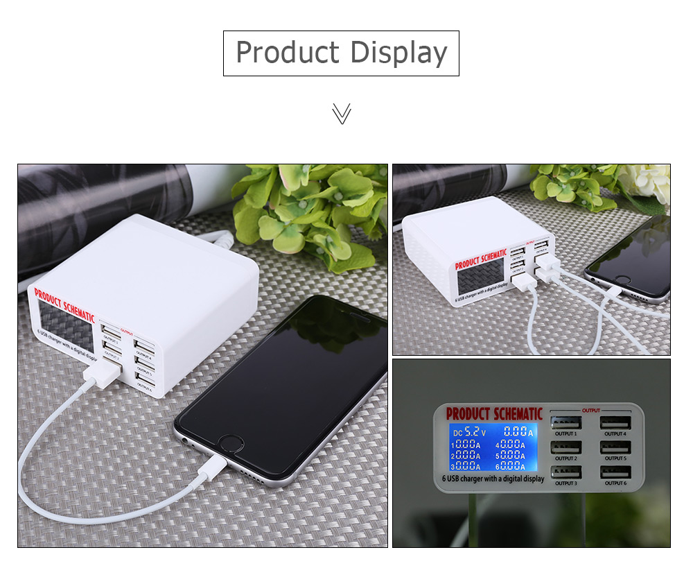 6 Usb Port Charger Adapter With Digital Display Screen 1799 Free Cable Schematic Intelligent Travel Power White Eu Plug