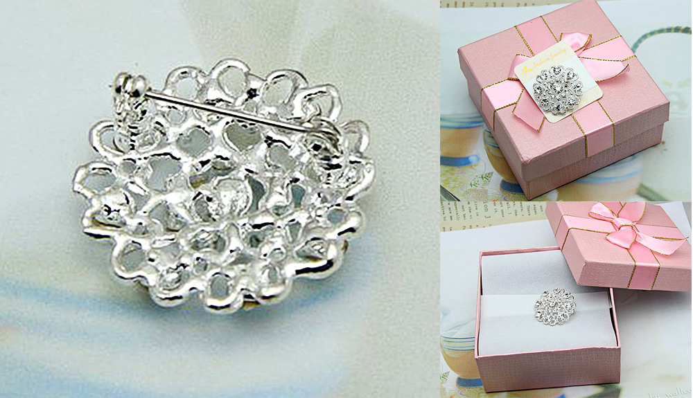 Stylish Peach Heart Shape Hollow Zircon Rhinestone Platinum Plated Brooch