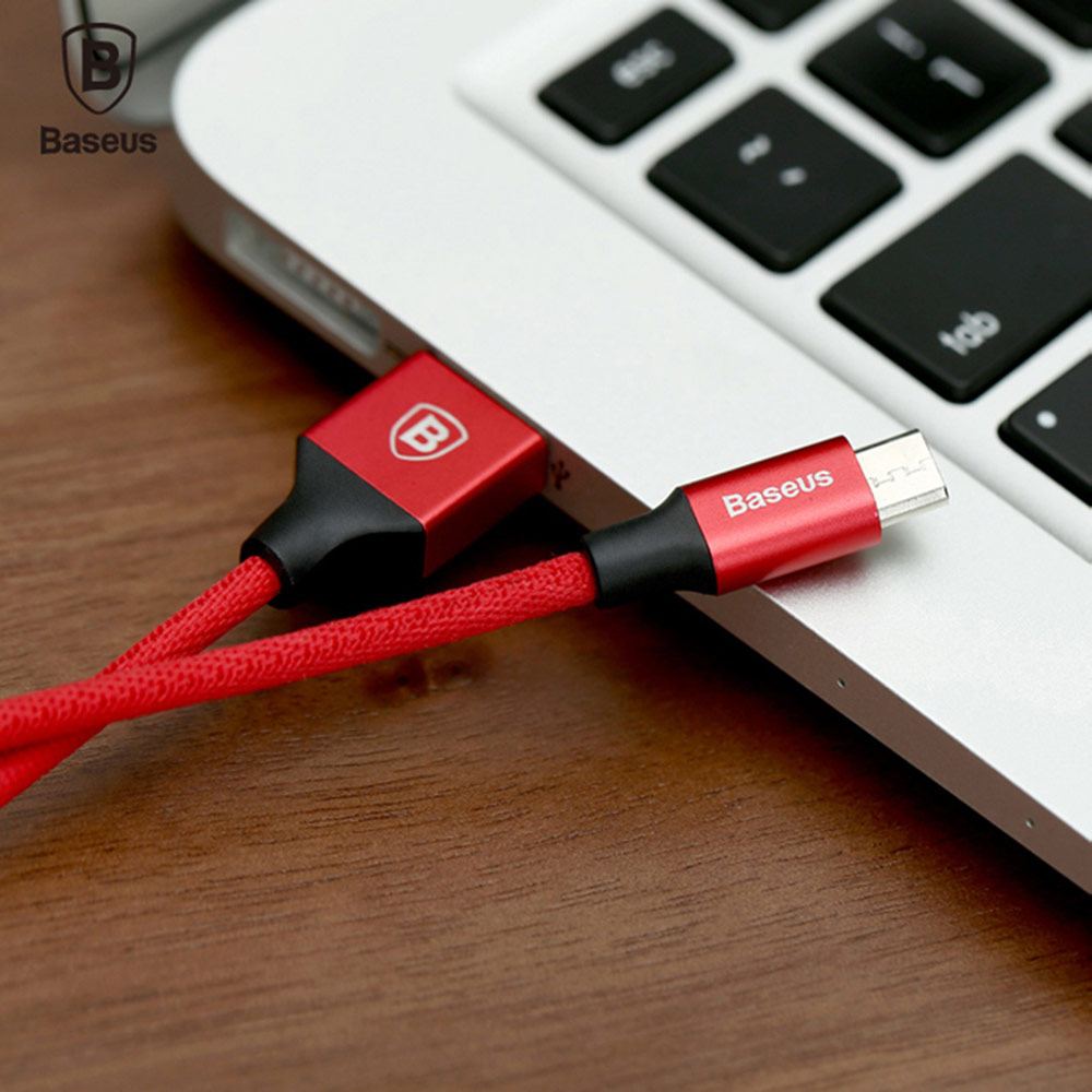 Baseus Yiven Cable Micro USB Data Charging Braided Wire 1M- Red