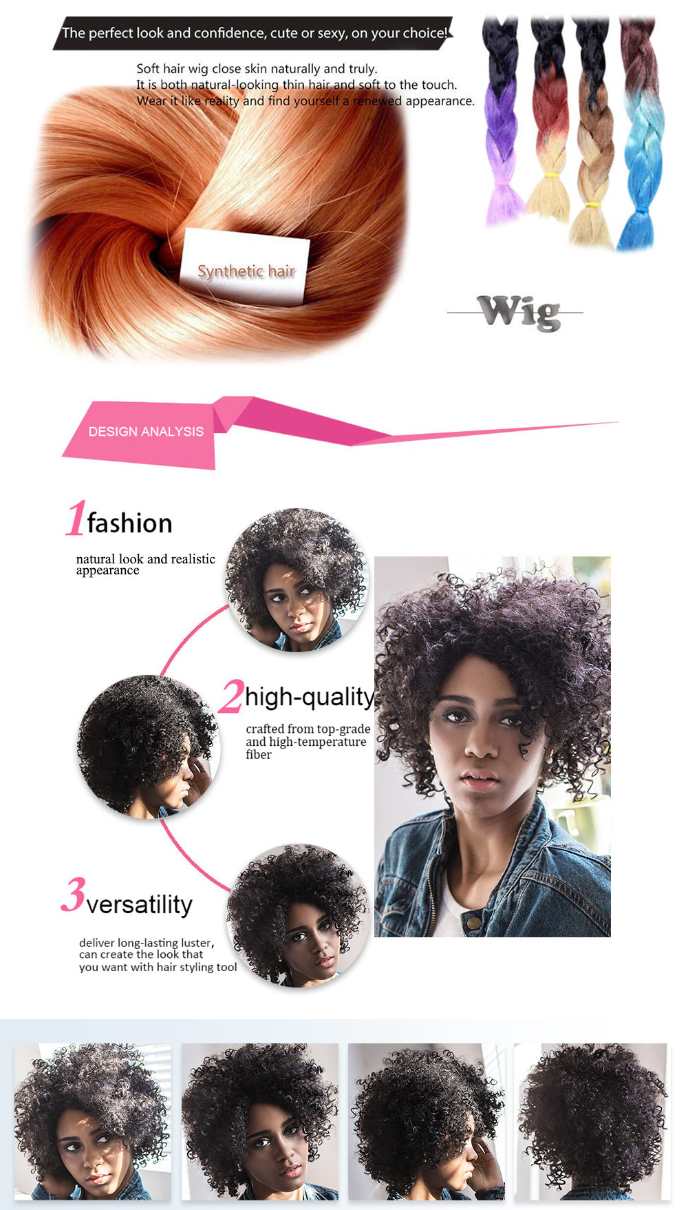 AISIHAIR Women Short Side Bang Black Afro Curly Synthetic Hair Wig