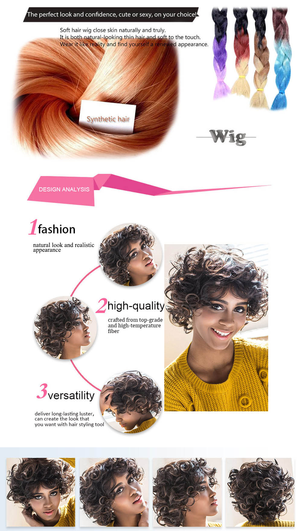 AISIHAIR Shaggy Short Curly Mixed Black Brown Synthetic Wigs for Women