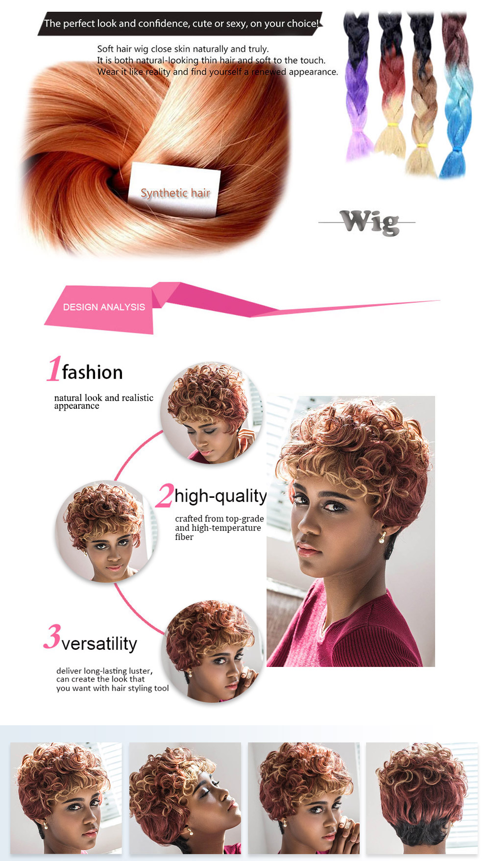 AISIHAIR Stunning Short Round Curly Full Bangs Mixed Color Wigs for Women