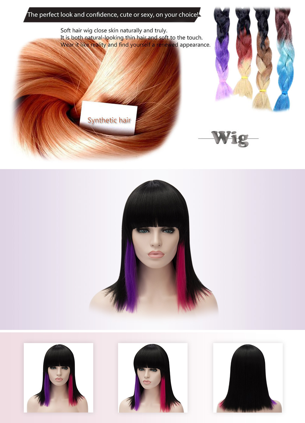 European Ombre Highlight Mixed Colors Medium Straight Full Bangs Wigs for Cosplay Party