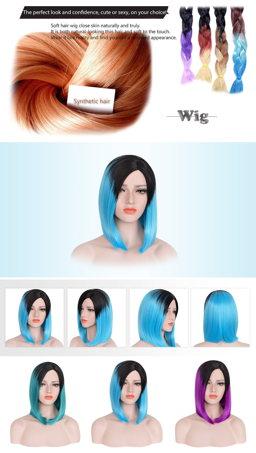 Medium Lob Shoulder Length Gradient Mixed Colors Synthetic Sleek Wigs for Women