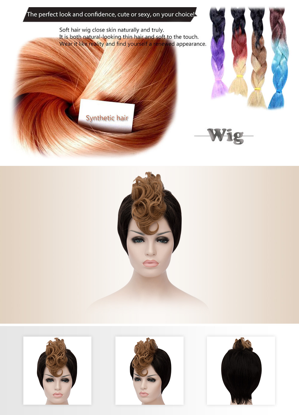 Inspiring Short Spiky Hair Cutting Mixed Color Synthetic Wigs for Women