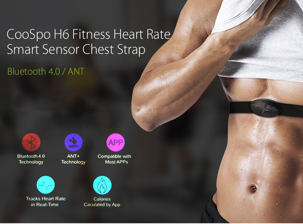 CooSpo H6 Outdoor Fitness Sport Bluetooth 4.0 ANT Heart Rate Smart Sensor Chest Strap- Black